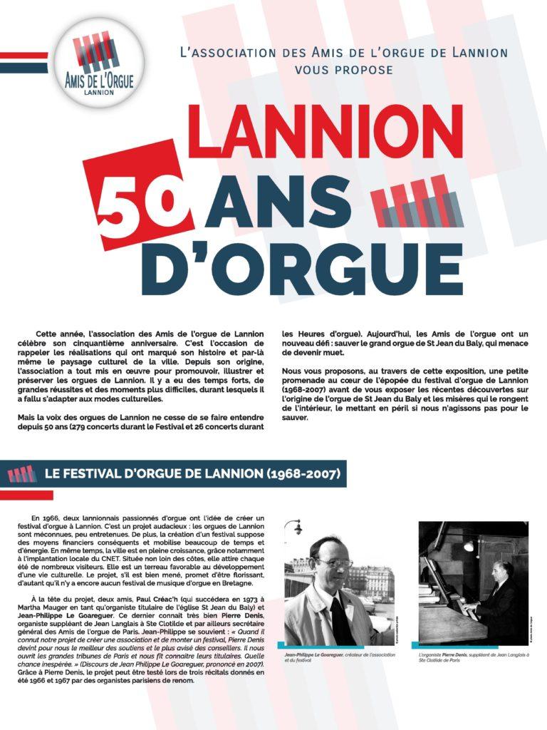 Lannion, 50 ans d'orgue. Ce premier panneau évoque la création du festival d'orgue par Paul Créac'h et Jean-Philippe Le Goareguer des 1966.