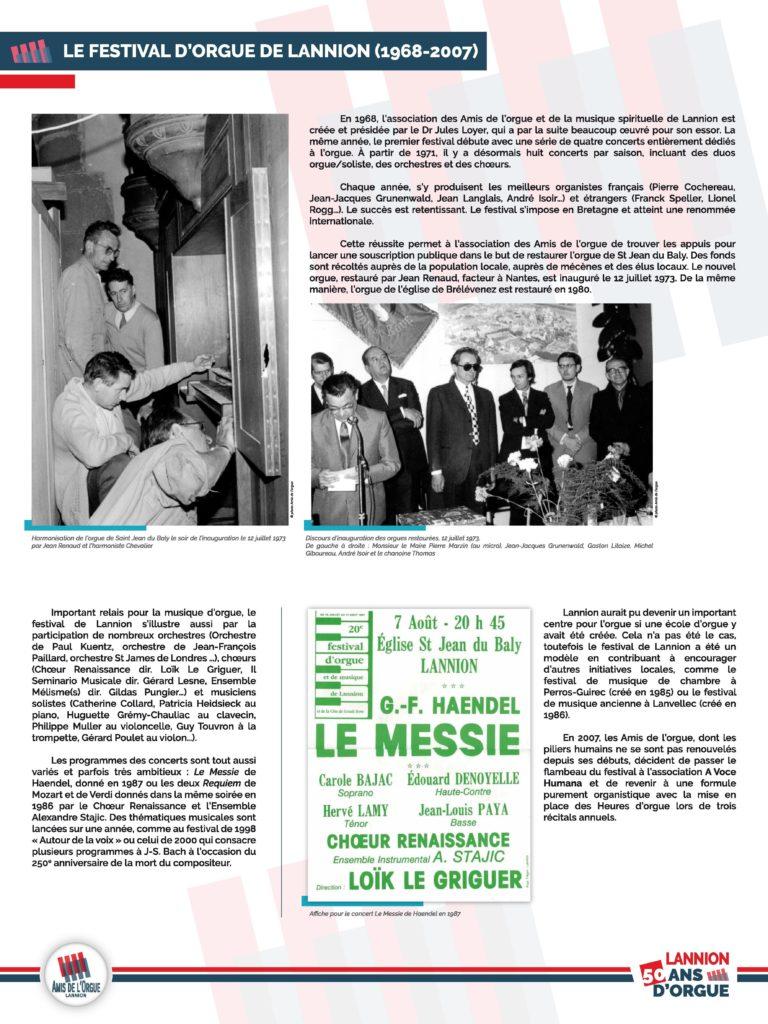 Panneau 2 : création de l'association des Amis de l'orgue et de la musique spirituelle de Lannion