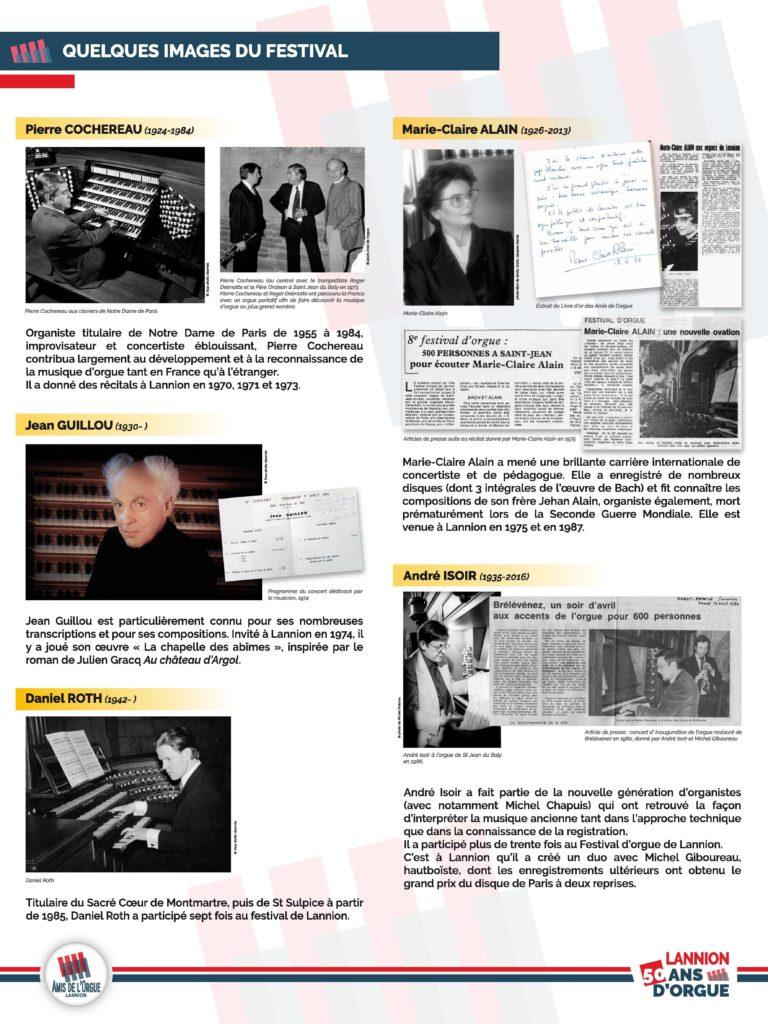 Panneau 3 : images du festival, artistes (André Isoir, Marie-Claire Alain, Pierre Cochereau, Jean Guillou, Daniel Roth) coupures de presse, livre d'or...
