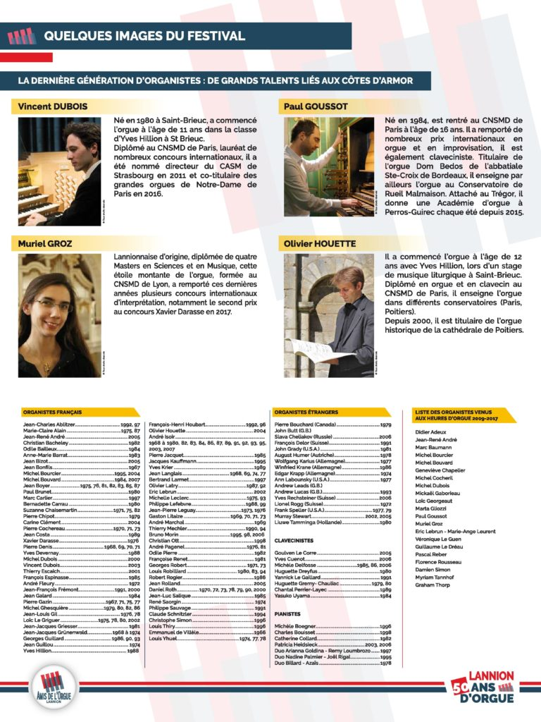 Panneau 5 : dernières images du festival, les organistes de la nouvelle génération liés aux Côtes d'Armor (Vincent Dubois, Paul Goussot, Muriel Groz et Olivier Houette)