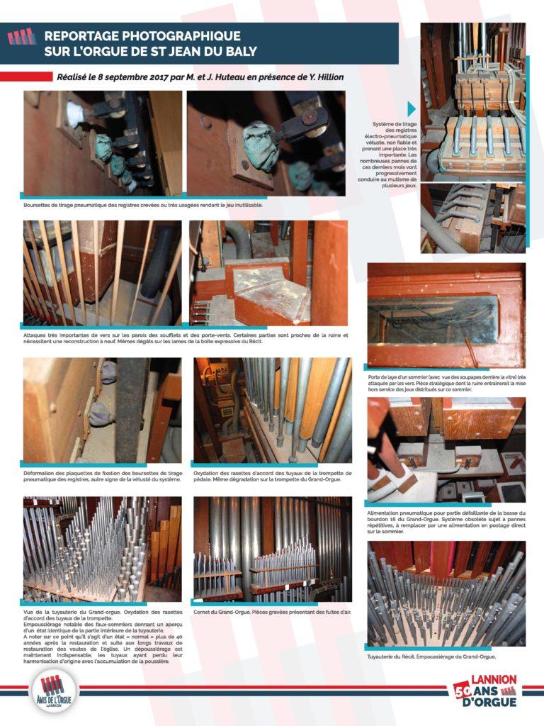 Panneau 7 (et dernier) : des photos de l'état de l'orgue. Boursettes crevées, attaques de vers, systèmes vétustes, oxydation, fuites d'air...