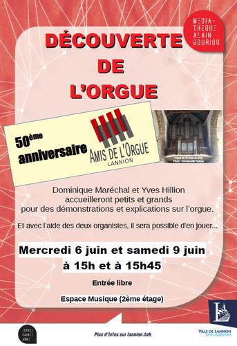 Affiche annonçant les séances de découverte de l'orgue à la médiathèque de Lannion