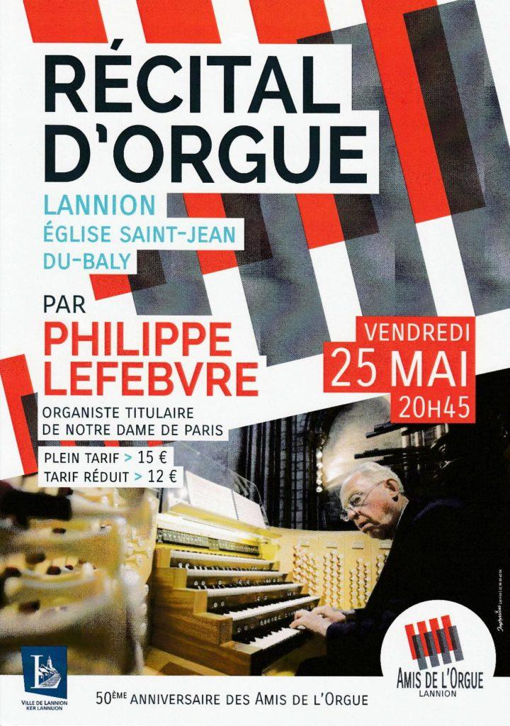 Affiche du récital d'orgue de Philippe Lefebvre du mai 2018 à Lannion