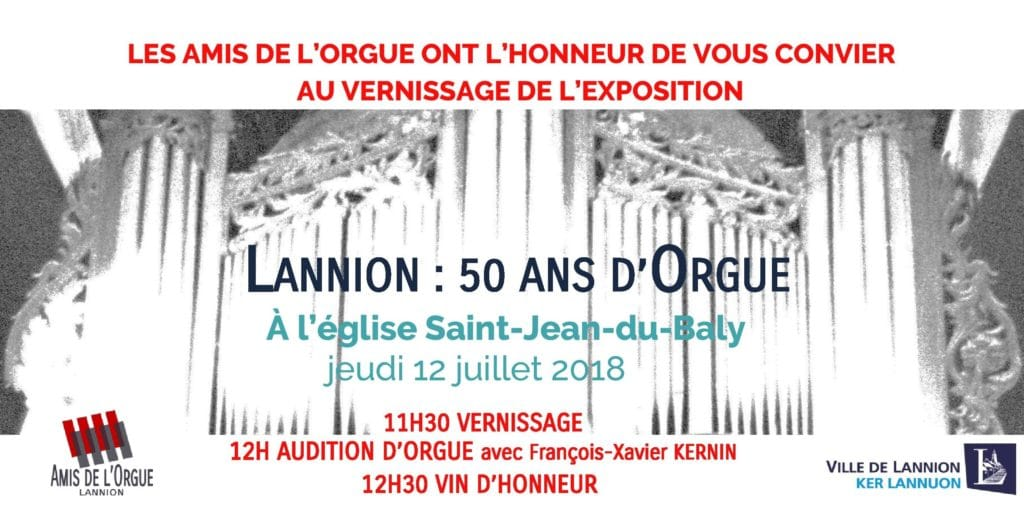Carton d'invitation au vernissage de l'exposition Lannion, 50 ans d'orgue.