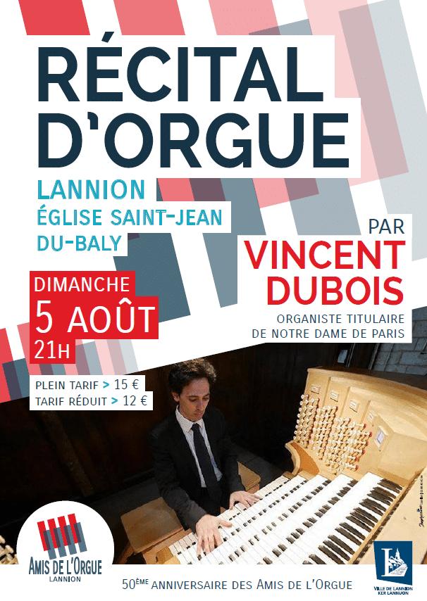 Affiche du concert de Vincent Dubois du 5 août 2018