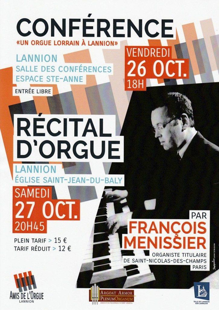Affiche présentant la conférence et le récital d'orgue de François Ménissier