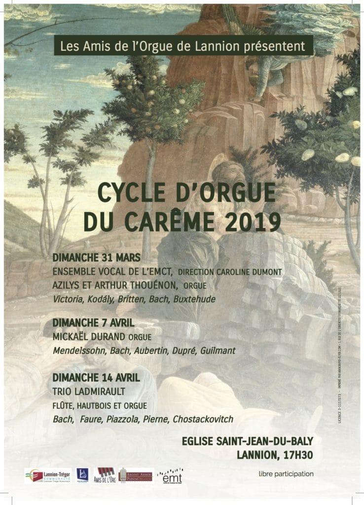 Affiche présentant les concerts du cycle du Carême 2019 à Lannion