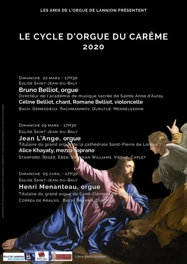Affiche du cycle du Carême 2020 - Amis de l'Orgue de Lannion