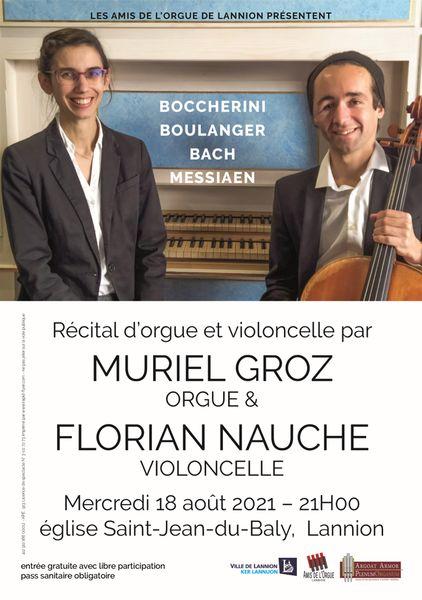 Affiche du récital d'orgue et violoncelle par Muriel Groz et Florian Nauche le mercredi 18 août 2021